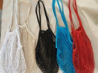 Wholesale Net Handles - Long handle Fruits & Vegetable Shopping String Cotton Net Mesh Bag For Sun Clothes Toys Basketball Storage Bags wa4120