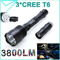 Wholesale Original Cree Torch - 100% Original Trustfire 3800 Lumens 3*CREE T6 LED Flashlight 5Modes Waterproof Torch Zoomable Linternas Light for 2 or 3 x18650 Super bright