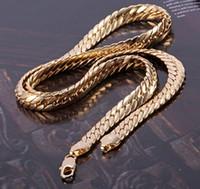 joyería fina cadena de oro al por mayor-Envío rápido gratuito de oro amarillo fina Joyería 84G espléndido de los hombres 14k amarillo sólido collar de piel de serpiente de cadena de oro 23.6