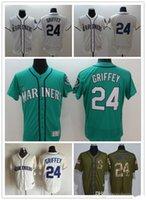 Wholesale Griffey S - 2016 New Hot sale Seattle Mariners Authentic Jerseys #24 Ken Griffey jr Jerseys Green White Cream Flexbase Embroidery s Baseball jerseys
