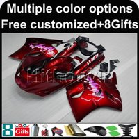 Wholesale Zx11 Fairings - 23colors+8Gifts red motorcycle cowl for Kawasaki ZX11R ZZR1100 93-01 93 94 95 96 97 ZZR1100 98 99 00 01 ABS Plastic Fairing