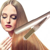 Wholesale Hair Dryer Curler - 2017 Hot Sale 2 in 1 Hair curler Hair Straightener 360 Rotatable Hair Straightener Gold Plate with High Quality US EU UK plug