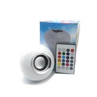 ocultar camara de seguridad led al por mayor-30% E27 bombillas LED inalámbrico Bluetooth 6W LED bombilla del altavoz RGBW música que juega la iluminación con 24 llaves IR teledirigido ENVÍO LIBRE