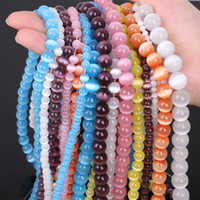 Wholesale 12mm Purple Eyes - 4mm White Pink Purple New! 5AAA+ Opal Natural Cat Eye Beads for Making Jewelry Free Shipping Wholesale 4 6 8 10 12MM