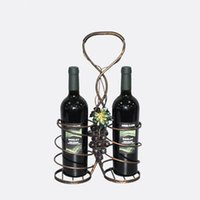 Wine Rack Retro rattan de uva Bar Wine Shelf Suporte de parede double bottle Europa Style Creative Leaves vines Design Iron Art Vintage wholesale