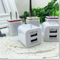 Wholesale Dual Usb Phone Charger - Wholesale cell phone 2usb travelling wall chargers EU US metal dual port AC wall charger USB power adapter DHL free shipping