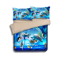 Novo Underwater World Dolphin Printing Bedding Sets Twin Full Queen King Size Duvet Covers Pillow Shams Consolador Mermaid Penguin Fish Animal