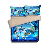 ropa de cama queen dolphin al por mayor-Nuevos juegos de ropa de cama de impresión de delfines bajo el mundo submarino Twin Full Queen King Size Fundas de edredón Fundas de almohadas Consolador Mermaid Penguin Fish Animal