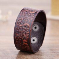 Wholesale Double C Charms - B&C Double DoDo Birds Bohemia Auspicious Symbol Totems Genuine Leather Charm Cuff Bracelets Wristbands Jewelry for Men