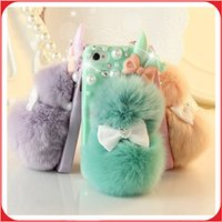 Wholesale Ear Dirt - For Iphone 7 Case Fashion Cute 3D Rabbit Ear Fur Ball Bowknot Case Cover Phone Accessories For Iphone 5\5S\SE iphone 6\6S and more