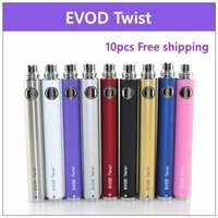 Wholesale Ego Compatible Batteries - 10 pcs EVOD Twist Battery for Electronic Cigarette Variable Voltage 3.2-4.8V 650mah 900mah 1100mah Compatible with all series eGo Kit