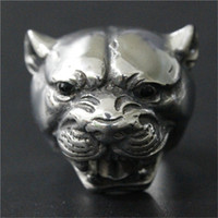 Wholesale Wholesale Leopard Rings - 3pcs lot New Design Silver Huge Leopard Head Ring 316L Stainless Steel Fashion jewelry Hot Selling Leopard Ring