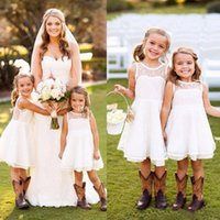 Pretty Short Lace Flower Girls Dresses for Weddings Длина колена Летний сад Beach Kids Skirt Country First Communion Dresses For Girls