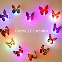 Home Wall Decoration Novidade Mini Night -Light Butteryfly Shape LED Decor colorido com bateria e ligar / desligar