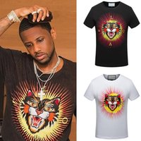 Wholesale t back for men - Hot Sale Embroidery Angry Cat Head Cotton Jersey Vintage Effect T-Shirt For Men Fashion Design Printed Letter On Back
