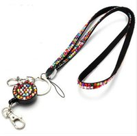 Neck Bling Rhinestone Lanyard Retractable Strap ID Badge Reel Telefone Chave Titular Sueter Corrente Pingente Colar longo