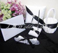 Wholesale Guest Book Black White - Free shipping,Set of 5pc black&white crystal Satin Wedding Guest Book Ring Pillow Flower Basket Pen Holder Garter Sets WS71
