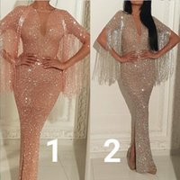 Wholesale Triangle Pattern Fashion - Evening dress Yousef aljasmi Labourjoisie Sheath Tassels Long dress Pink Silver Crystals Michaelcostello Kylie Jenner Zuhair murad