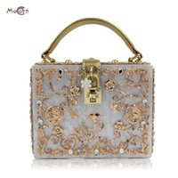 Moccen Acrylic Box Women Handbags Lock Evening Bags Bolsa Bolsa de embreagem Ladies Crossbody Shoulder Bags Dia Clutches Hand Bag