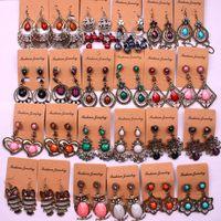 brincos de lustre boêmio venda por atacado-Bohemian Vintage estilo Étnico longo Borlas Brincos Para mulheres senhoras Dangle Lustre Brincos moda jóias Aleatórios estilos mistos