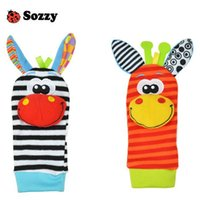 Wholesale Plush Rattle - 480pcs Lamaze A B C 3 Style Sozzy rattle Wrist donkey Zebra Wrist Rattle and Socks toys (1set=2 pcs wrist+2 pcs socks)
