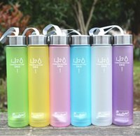 Wholesale plastic frosted cups - 6 Colors Frosted Leak-proof Plastic Cup 280ML H2O Unbreakable Portable Sports Water bottle For Outdoor Sport Running Camping