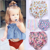 Wholesale Baby Boys Denim Shorts - Baby PP Pants Kids Ins Shorts Toddler Casual Triangle Pants Boys Summer Bloomers Newborn Briefs Diaper Girls Floral Flower Underpants B3204