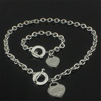 Wholesale Unique Gifts Love - Christmas Gift 925 Silver Love Necklace+Bracelet Set Wedding Statement Jewelry Unique Heart Pendant Necklaces Bangle Sets 2 in 1