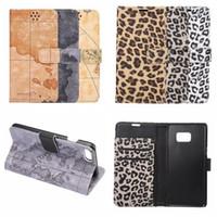 Wholesale Map Wallet Flip Case - For Iphone 7 Iphone7 7 Plus 7Plus Retro World Map Leopard Wallet Leather Case Animal Card Slot Flip Cover Holder Pouch