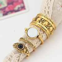 4PCS Bohemian Vintage Rings Set para Mulheres Antique Antique Gold Silver Plated Ring Carved Gem Stone Fashion Jewelry D17S