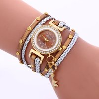 Wholesale Heart Watch Key - 2016 wholesale women fashion leather weave rope bracelet watches vintage ladies diamond love heart key pendant dress watches
