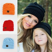 Wholesale Hot Pink Crochet Hat - Hot Children CC Beanie Knitted Hats Mother child 7 colors Winter warm Crochet Outdoor hat 2017 Pink Black beige Yellow Rose
