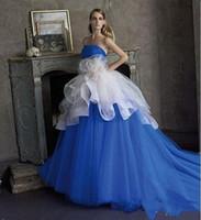 ingrosso palline bianche del vestito blu-Ball Gown Gothic Abiti da sera Vestidos de Longo Blu e bianco Sweetheart fatti a mano FLOWER Fashion Party Prom Gowns Rode De Soiree