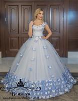 ingrosso vestito da mascherare vittoriano-Blue Butterfly Victorian Princess Quinceanera Dresses 2018 Plus Size Off The Shoulder Lace up Sweet 16 Abiti da ballo abito Prom Masquerade Wear