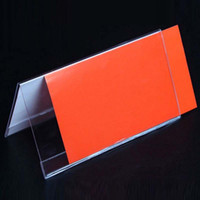 Wholesale Office Name Stand - 4pcs 10*20cm V Triangle Acrylic Name Card Label Holder Conference Seat Name Sign Display Stand Table School Office Supplies Papelaria