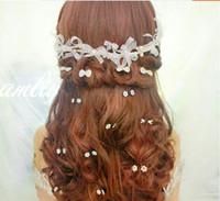 Wholesale Red Rhinestone Hair Pin - Wedding Bridal Bridesmaid White Red Diamond Plum Blossom Clip Babysbreath Headdress Crystal Hair Band Hairpin 20pc lot Hair Jewelry