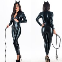 Wholesale Leather Jumpsuit Catwoman - Top Quality Sexy Halloween Catwoman Costume Black Zip Front Vinyl Catsuit Wet Look Latex Faux Leather Jumpsuit with Belt W207961