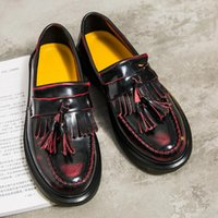 Wholesale Oxford Flats High Platform - High Quality Women oxfords Flats Platform shoes Patent Leather Tassel Slip-on pointed Creeper black Loafers British Style Retro Shoes