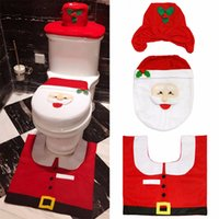 Wholesale toilet ornaments - Happy Santa Toilet Seat Cover Rug Tank & Tissue Box Cover Xmas Gift ornaments enfeites de natal papai noel for Bathroom Decoration OTH090