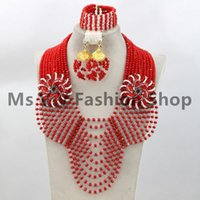 Wholesale Red Coral Beads Necklace Sets - Splendid 10 Layers coral red white Nigerian Wedding Beads Jewelry Set Luxury Rhinestone Brides Gift Jewelry Free Shipping