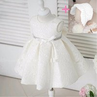 Wholesale white organza hats resale online - Send Hat High Quality Keen Length Scoop Bow Sleeveless Lace Flower Girl Dress Formal Clothing For Wedding