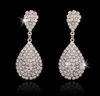 Wholesale Cheap Diamond Shaped Earrings - New Fashion Austrian Crystal Earrings Water Drop Shape Stud Earrings For Women Cheap Earrings Jewelry For Wedding