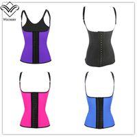 Wholesale waist compression cincher - 100% Latex Waist Cincher Corset with Adjustable Straps Black Underbust Corsets Girdle Body Shapewear Strong Compression Waist Trainer Vest