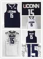 Wholesale Uconn Basketball - NCAA Embroidery Logos Men's 15 Kemba Walker University Jerseys Rev30 Adult UCONN Kemba Walker Jersey 100% Stitched Cheap