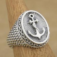 Wholesale mens sterling silver biker rings - 925 Sterling Silver Anchor Chain Mens Biker Rocker Punk Ring 9W023 US Size 7 ~ 15
