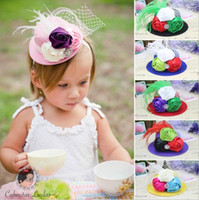 Wholesale Kids Hair Feathers - Newest European & American Baby Girls Feather Headbands Children Kids Grace Noble Billycock Hat Hairbands Hair Accessories 9 Colors KHA255