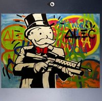 Wholesale Huge Canvas Oil Painting Framed - Framed HUGE-GUN ALEC MONOPOLY,High Quality Genuine Handpainted Cartoon & Graffiti Art oil Painting On Canvas Multi sizes Free Shipping