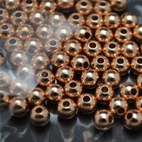 Rose couleur or métal cuivre rondes billes Perles Spacers 4mm 5mm 6mm 8mm 10mm 12mm 14mm 16mm Bijou 100PC / Lot