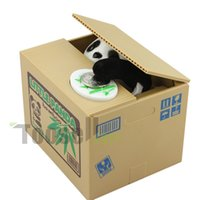 Wholesale Cat Bank Box - 2016 NEW Piggy Bank Itazura Kitty Hungry Cat Eating Electric Coin Bank Money Saving Box Eating money pot Stealing money tank