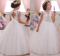 Wholesale Wearing Girls - 2016 Lovely Lace Appliqued Tulle Flower Girls Dresses Open Back With Bows Sash A Line Girls Birthday Party Dresses Kids Formal Wear CPS294